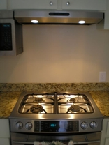 Kitchen Remodeling New Stainless Steel Gas Range with Oven and Lighted Vent Hood
