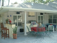 Outdoor Kitchen After Gas Grill, Cabinets, Exhaust Vent, Bar, Drop Lights, Fans and Speakers
