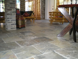 Flooring Project Picture Various Shades of Gray Slate Tile Project Completed. After of Before and After Pictures.