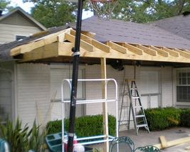 During Roof Extension of an new outside kitchen.
