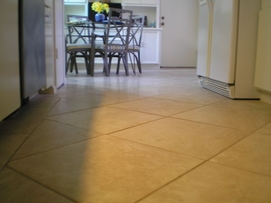 Kitchen Remodeling New Tan Ceramic Tile Flooring 12 x 12 inches