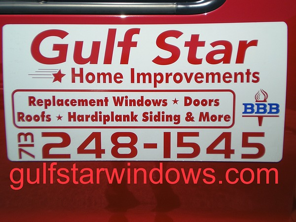 Gulfstar Windows and Home Improvements Truck Sign for the Contact Us Page. Home Remodeling Services Listed