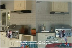 Gas Grill, Cabinets, Granite Countertops, Exhaust Vent and Side Burner. Home Improvement and Home Remodeling.