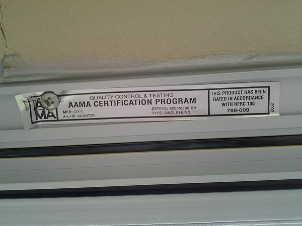 Replacement Insulated Window AAMA Certification
