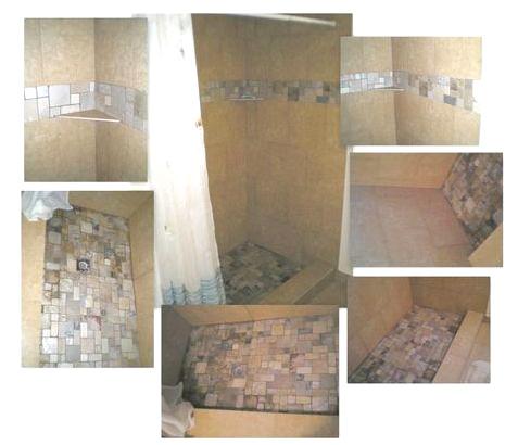 Bathroom Remodeling Medium Brown Granite Shower with Dark and Light Granite Mosaic Stripe and Floor Collage